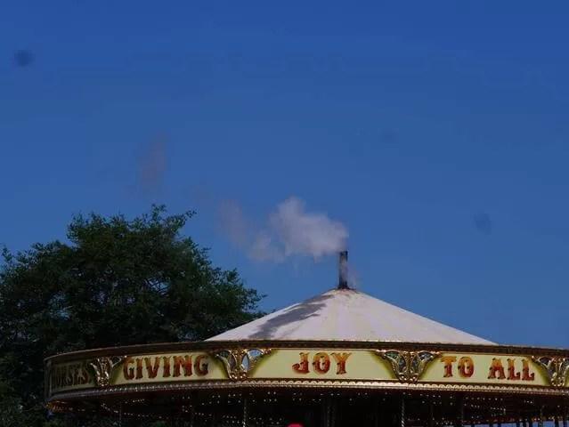 Carousel roof against bluesky