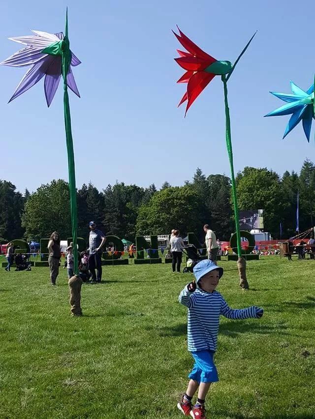 Enjoying Geronimo festival flags