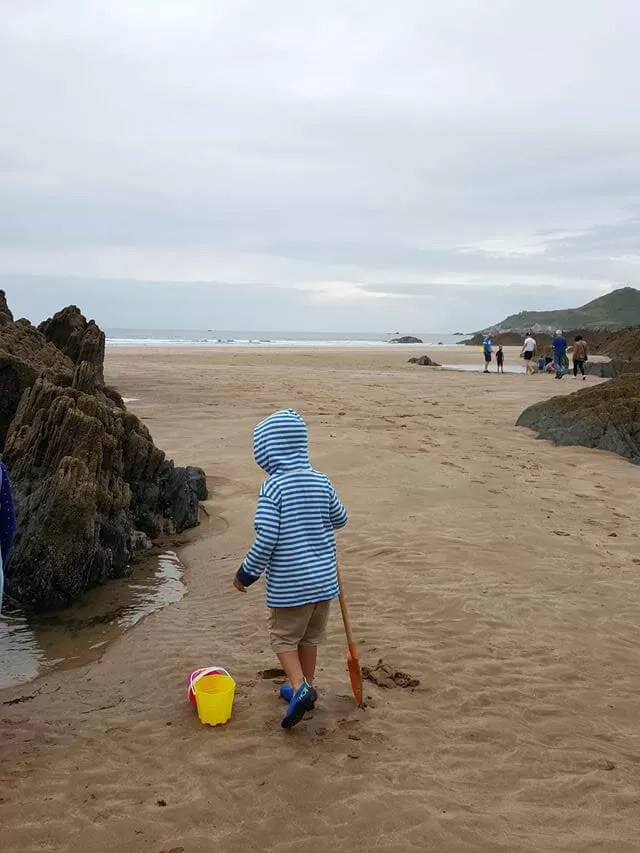 Getting ready for rockpooling at Watersmeet beach