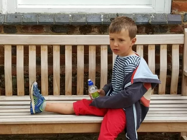 chilling out on a bench at Claydon