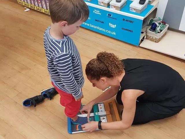 measuring for school shoes in Brantano