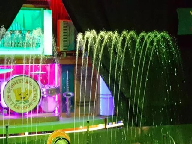 water fountain and light display at watermouth castle