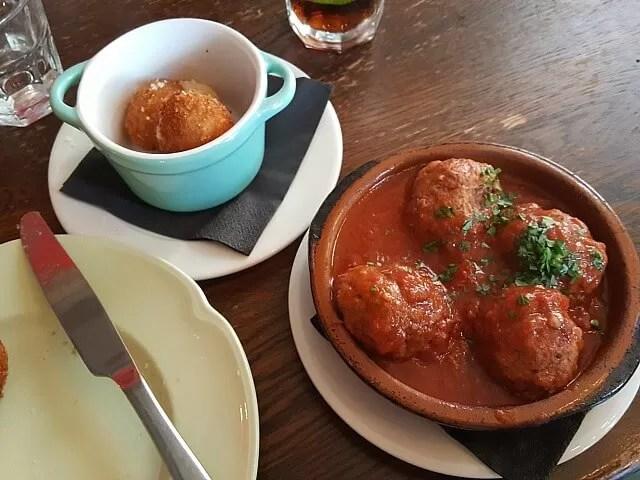 lamb and beed meatballs at brava tapas