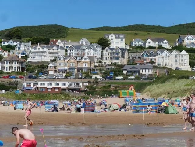 view from woolacombe beach