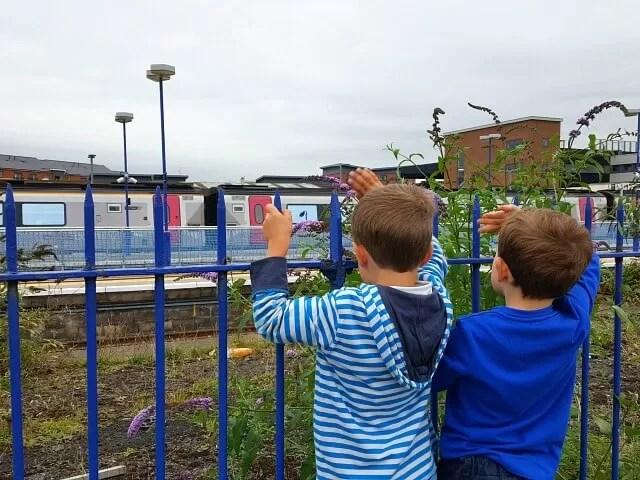 waving to trains at Banbury