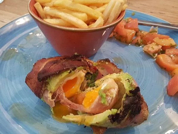 bacon serrano and avocado wrapped egg at Maytime Inn