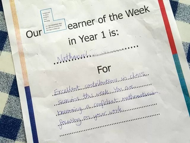 learner of the week certficate