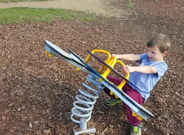 playing on the bendy see saw