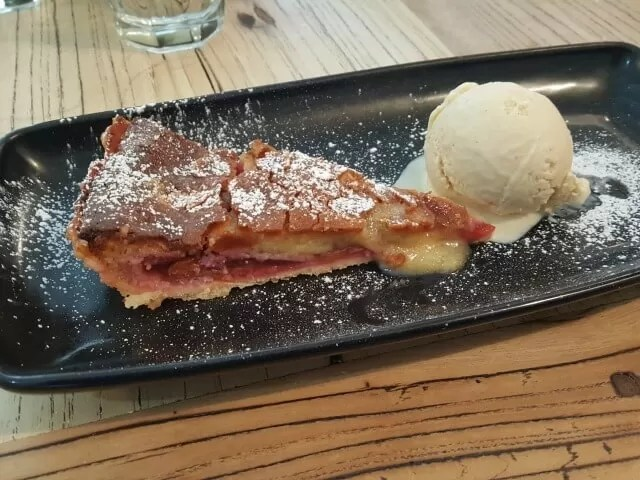plum frangipane tart and ice cream