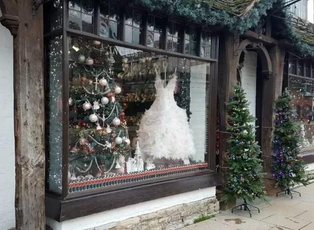 Beautiful feather dress in Nutcracker Shop window