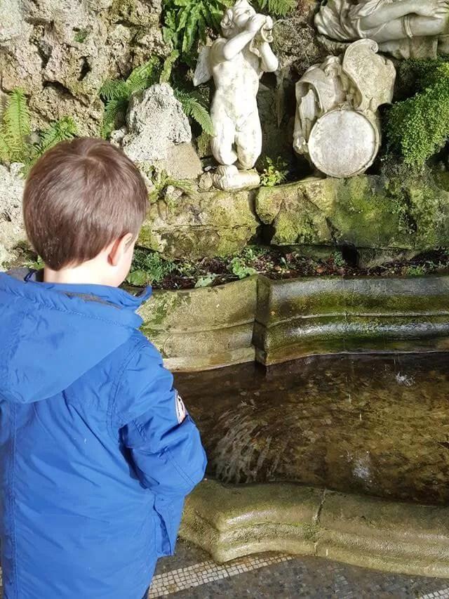 enjoying the water fountain at waddesdon