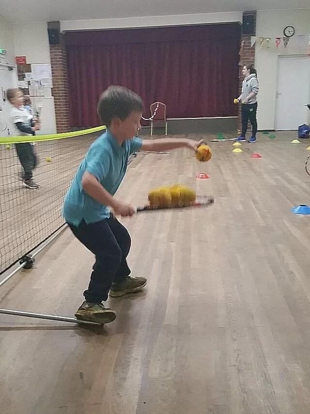 balancing tennis balls to collect the
