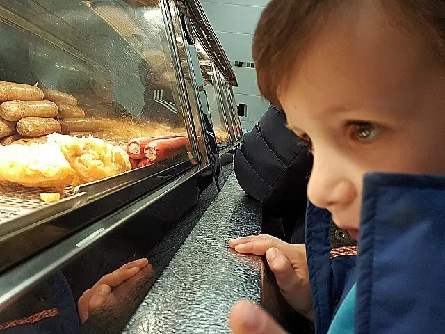 checking out the fish and chip shop
