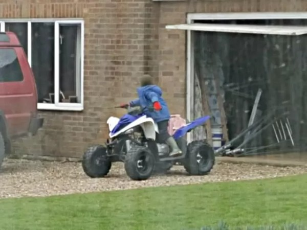 6yo backing in and reversing the quad bike into the garage