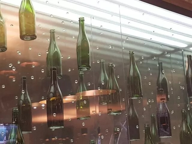 wine bottle pub display