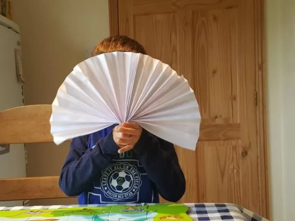 playing with homemade fans