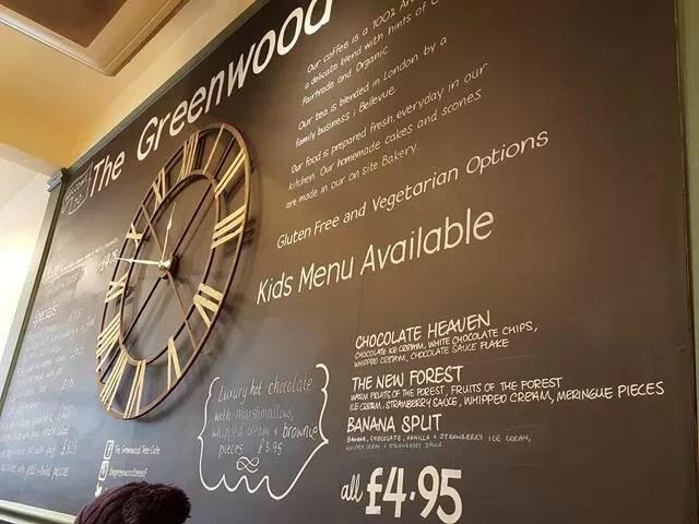 Greenwood cafe menu