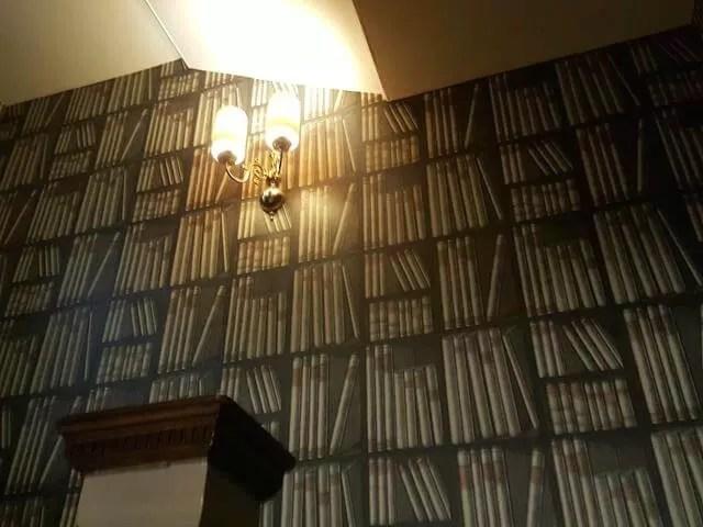 funky books wallpaper in hotel