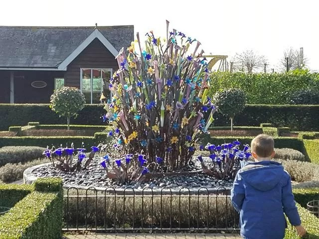 glass sculpture in Paultons Park gardens