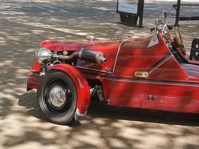 vintage cars in town