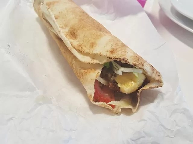 halloumi and falafel wrap