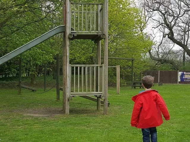 exploring the playground at thursford