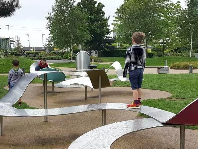 walking the park benches in Media City