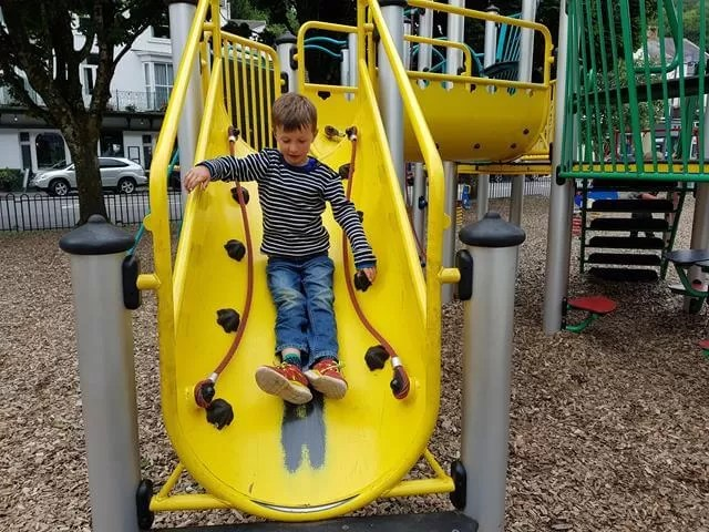 down the slide in the mumbles playground