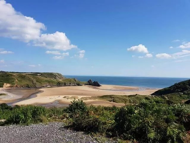 looking down to three cliffs bay