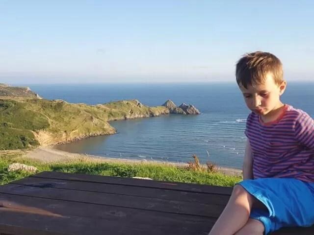 overlooking 3 cliffs bay