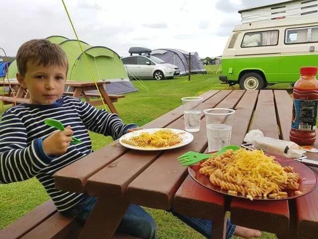 pasta tea at 3 cliffs bay campsite