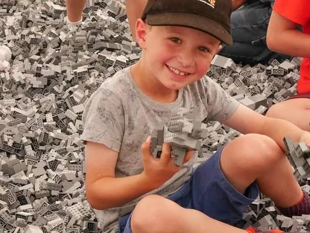 enjoying the giant Lego pit at Marwell Zoo