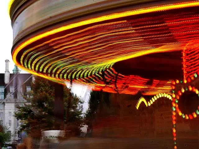 My Sunday Photo - fairground carousel and lights ratating