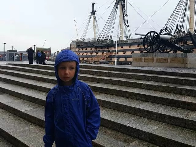 in the rain at Portsmouth historic dockyard