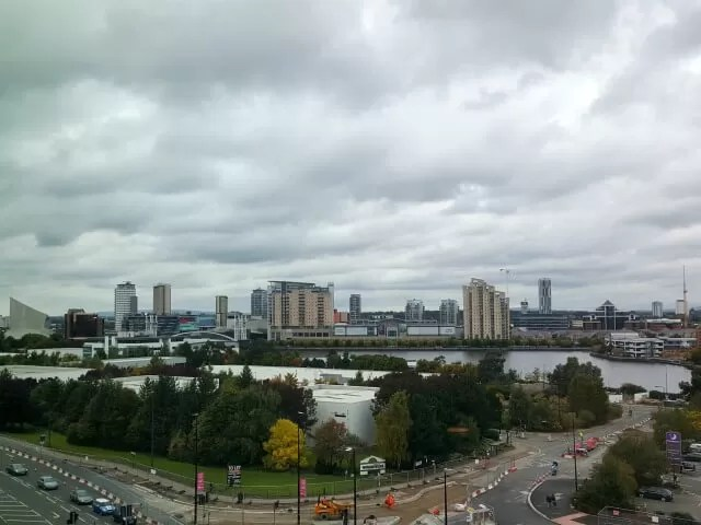 view from hotel football over salford quays