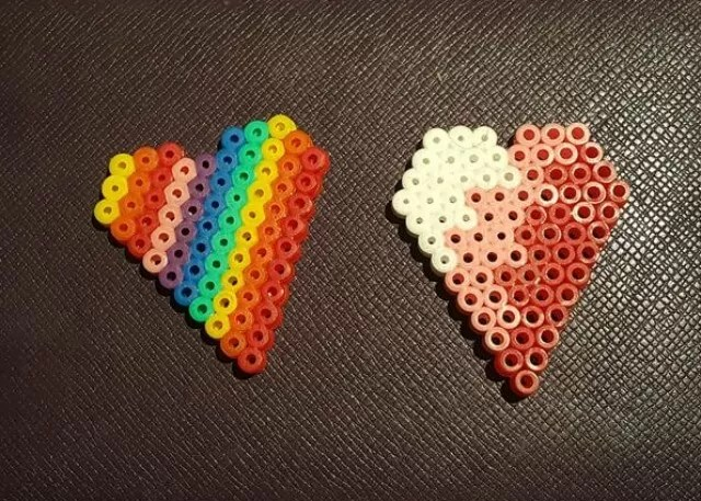 Hama beads rainbow heart and ombre heart