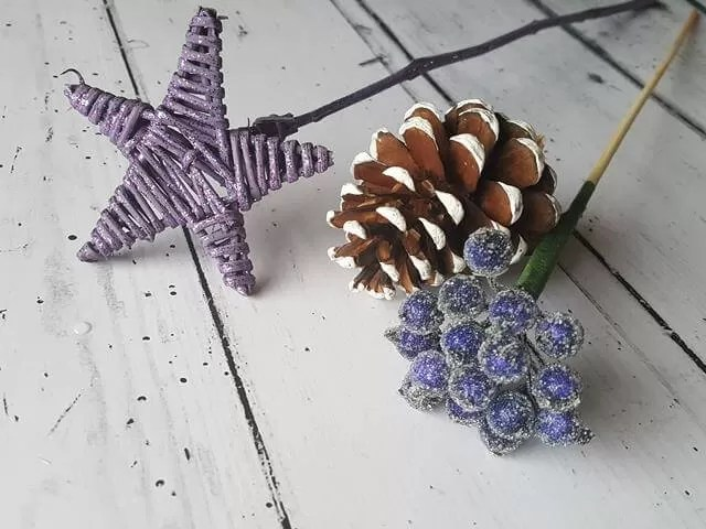 fir cone, star and berries from bouquet