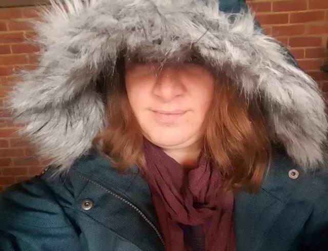 huge furry hood trespass coat
