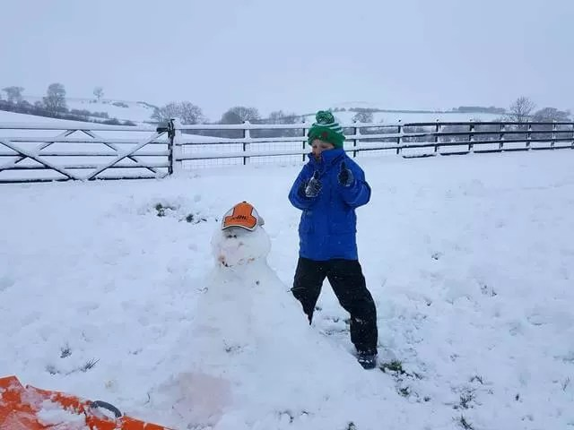 proud of his snowman