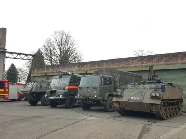 Bicester heritage military vehicles lined up