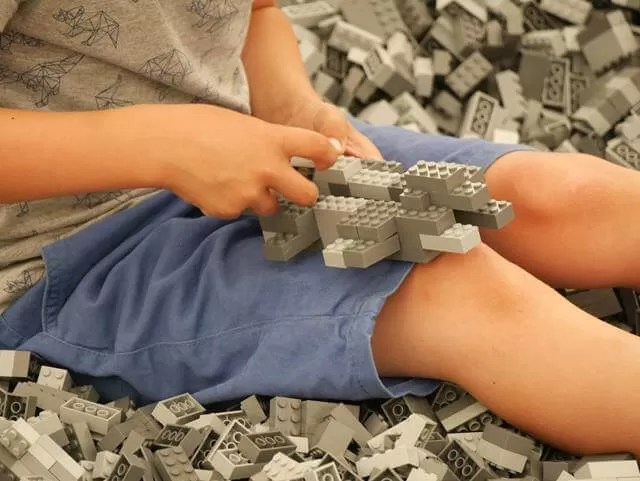 building lego in a lego pit at marwell