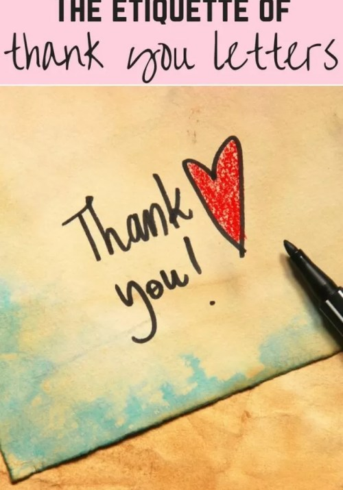 Etiquette of thank you letters - Bubablue and me
