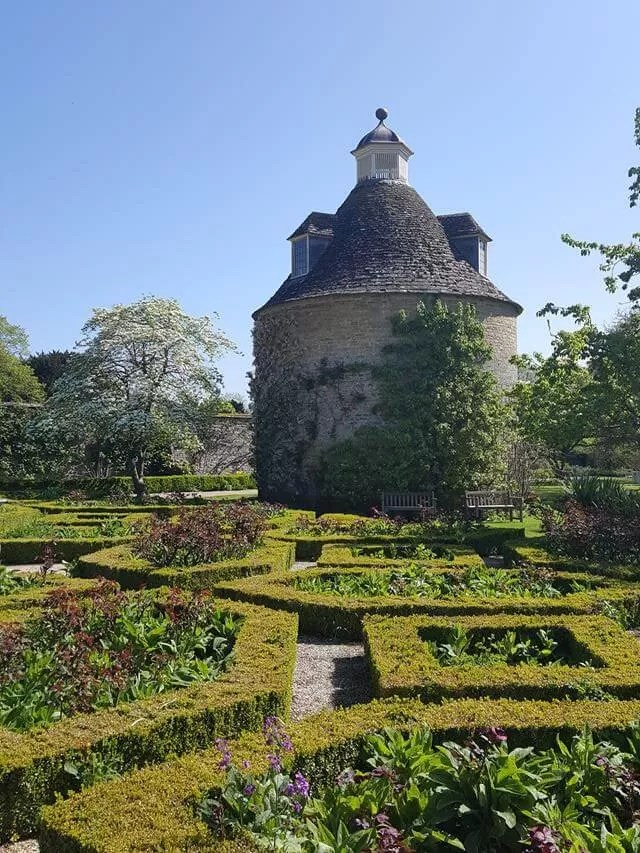 parterre and pigeon house at rousham