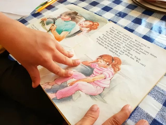 reading books from school