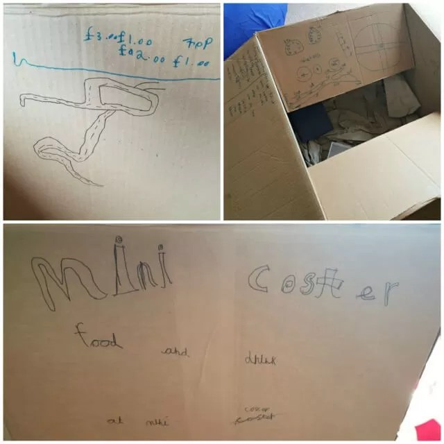 Mini coster ice cream van creative play with cardboard boxes