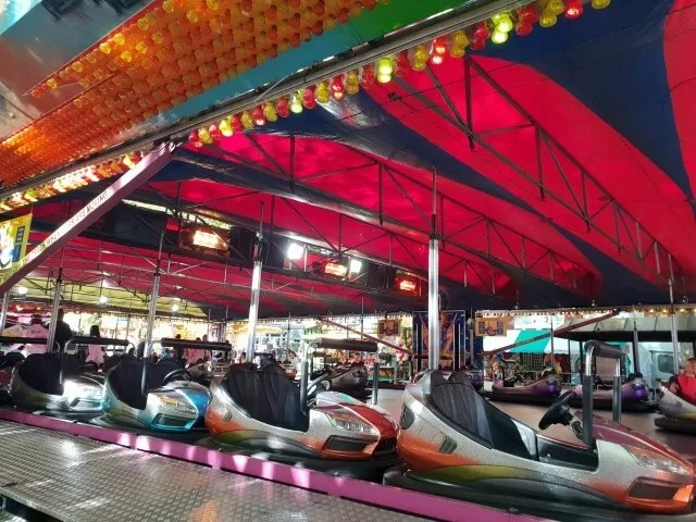 dodgems lined up at michaelmas fair