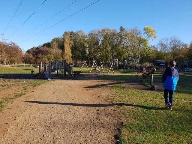 walking to the playground at irchester country park