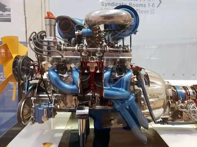 car engine on display