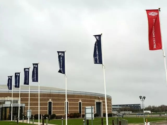 flags outside british motor museum