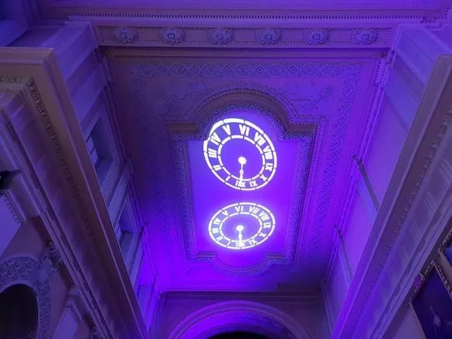 clocks on the ceiling projection
